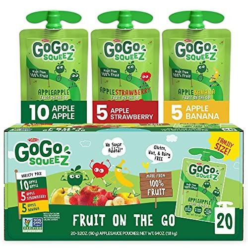 GoGo squeeZ Fruit on the Go Variety Pack, Apple Apple, Apple Banana, & Apple Strawberry, 3.2 oz. (20 Pouches) - Tasty Kids Applesauce Snacks - Gluten Free Snacks - Nut & Dairy Free - Vegan