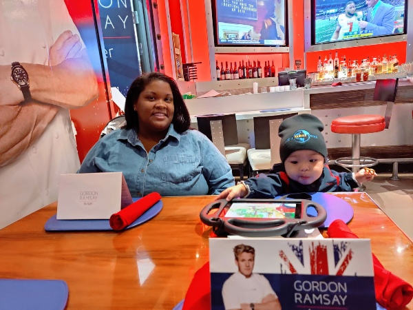 Baby and mom at Gordon Ramsey's burger in Las Vegas