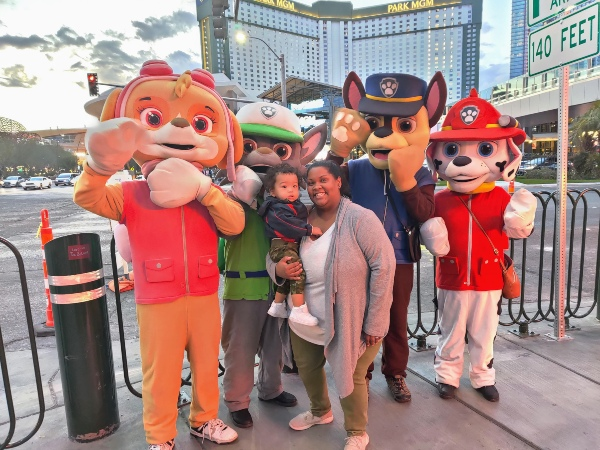 Toddler with Paw Patrol on Las Vegas Strip