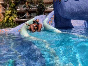 Hotel Xcaret kids pool slide