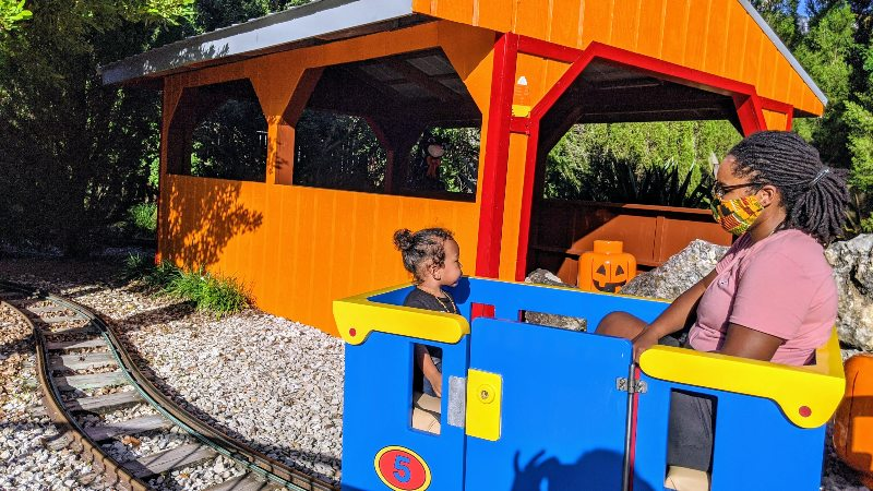 legoland flordia train with a toddler