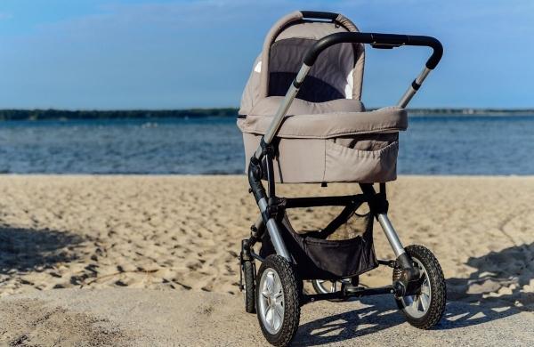 stroller on the beach
