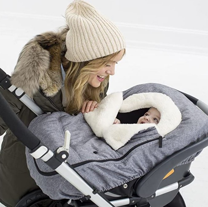 Mom with baby in car seat foot muff